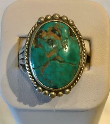 Antique Hand Crafted Turquoise Ring-Size 10-Large Authentic Stone