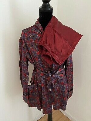 Vintage French Paris Mens Shiny 'Paisley' Smoking Jacket with Bottoms (L)