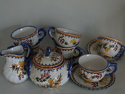 Vintage Six Cups Coffe And Saucer Sugar Creamer French Faience Henriot Quimper