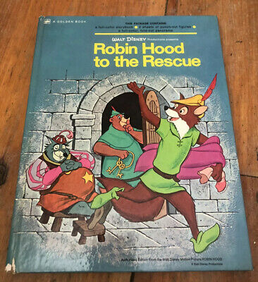 Vintage 1973 Walt Disney Golden Book- Robin Hood To The Rescue Hardcover Book