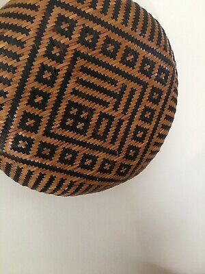 Antique Handwoven Chinese Bamboo And Rattan Grain Basket From 19th Century Chin
