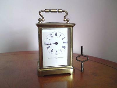 Antique brass framed carriage clock Northern Goldsmith & Silversmith & Co Paris