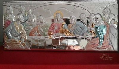 """12.5"""" Byzantine Icon Last Supper silver 950,made & blessed in Holy Bethlehem NEW"""