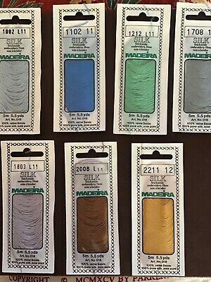 Madeira Silk Embroidery Threads, 7 packets.