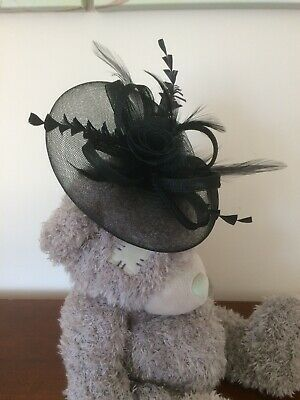 Large Feather, Rose, Mesh Hair Fascinator on Bunny Hair Clip in Black