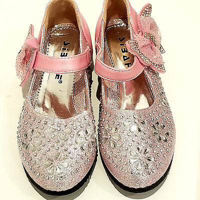GIRLS PARTY SHOES - size 29 Pink with lots and lots of Crystals - Velcro Fasten