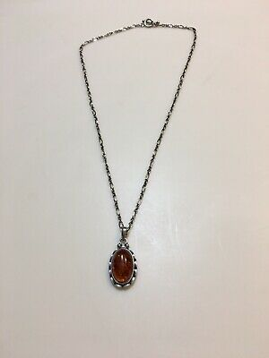 2001 Georg Jensen Sterling Silver Anniversary Amber Necklace
