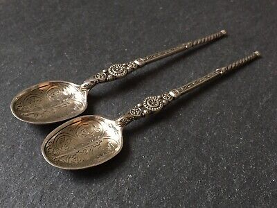 Pair Of Antique Edwardian Solid Sterling Silver Anointing Spoons Teaspoons 1902