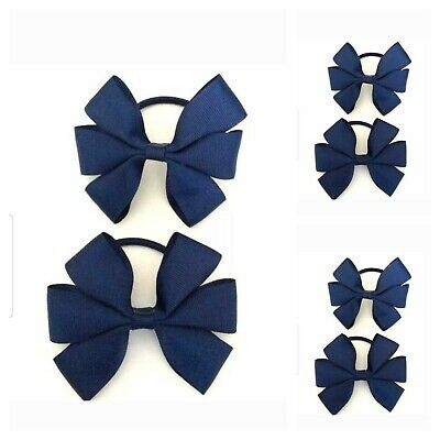 Handmade Girls School Navy Blue Hair Bow Bobbles Sold In Pairs