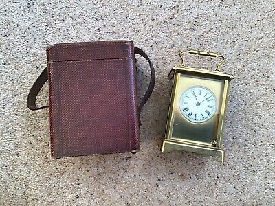 Vintage Brass Carriage Clock With Fitted Leather Travel Case