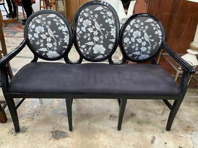 French Louis Xv Style Black Painted 3 Seater Cameo Salon Sofa / Settee