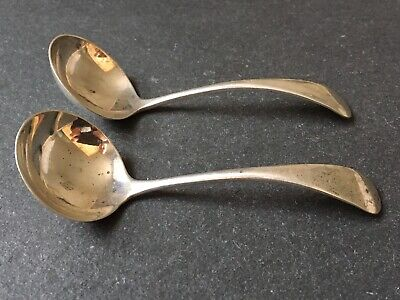 Matching Pair Of Vintage Solid Sterling Silver Sauce Condiment Ladle Spoons 33g