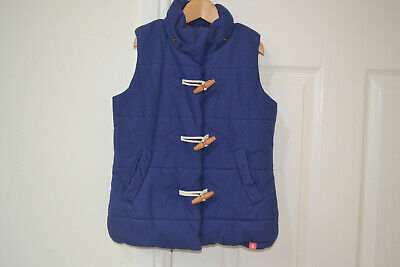 Joules Girl's Navy Quilted Hooded Gilet Age 7 Years 122cm Height - Excellent