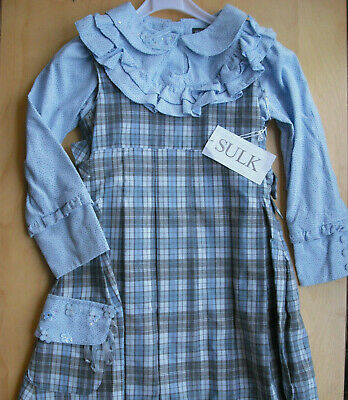 New Sulk 2 pc set outfit Pinafore Dress and Blouse age 5 - 6