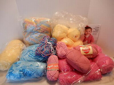 Factory Mill Ends 100% Cotton Yarn 6+ lbs Pink Yellow Blue Verigated
