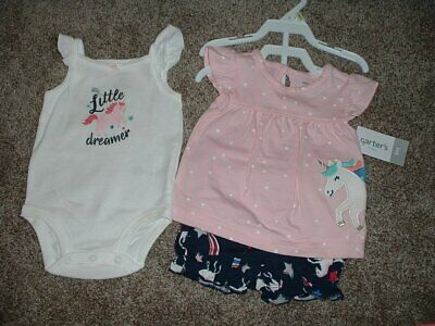 Carters Baby Girl Unicorn 3pc Summer Set Outfit Clothes Size 3M 3 Months 0-3 NWT