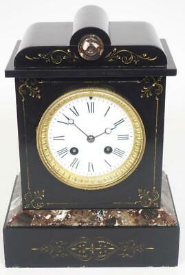 Original French 8 Day Mantel Clock Slate & Marble Mantle Clock Gilt Decoration