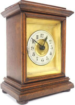 Original Antique Oak Mantel Clock 8 Day HAC Carriage Clock C1900