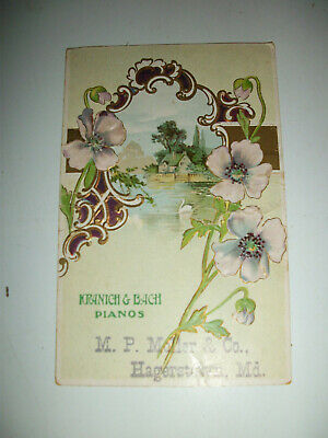 Kranich & Bach Pianos by M. P. Moller & Co. Hagerstown, MD Embossed Postcard