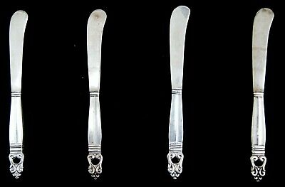"""Lot Of 4 International ROYAL DANISH Sterling Silver Butter Spreaders 6"""" (A6051)"""