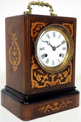 Original French Officers Mantel Clock 8 Day Marquetry Rosewood Carriage Clock