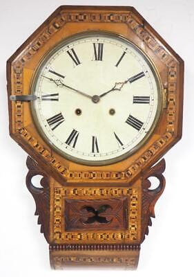 Antique Marquetry Wall Clock 8 Day Walnut Striking Drop Dial Wall Clock C1900