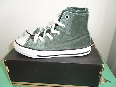 Converse Girls Velvet Green High Top Trainers / Shoes size 34 / uk 2 BNWOT