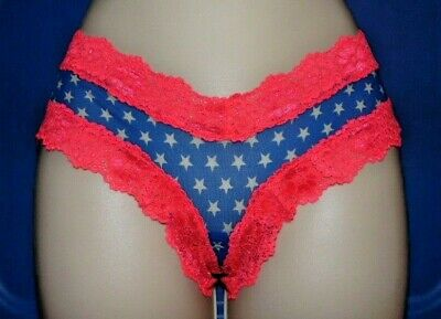 VTG Victoria's Secret Extra Low Rise Cheekster Lace Mesh Panties STARS Panty