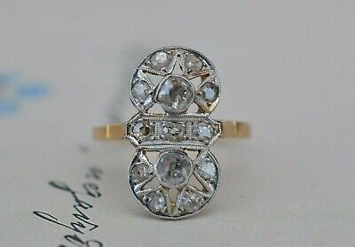 ANTIQUE VICTORIAN 18k Yellow Gold and Diamond Navette Cluster Ring 2.9 Gr