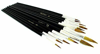 12 x POINTED ARTIST BRUSH SET Small//Large Art Paint Brushes Thin//Thick Detailed