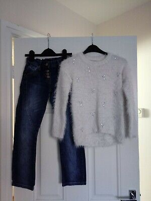 Girls Outfit Next Jeans And Matalan Jumper 8-9 Years