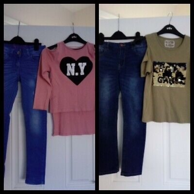 Girls Outfits bundle Next/F&F Jeans And Pep&Co Tops 8-9 Years