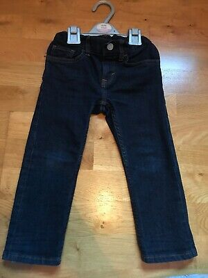 H&M boys slim fit dark denim jeans with adjustable waist size 2-3 years