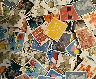 100 x UNFRANKED 1st CLASS STAMPS VARIOUS - NO GUM OFF PAPER - FACE VALUE £70