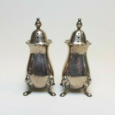 Antique Tiffany & Co Sterling Silver Salt+Pepper Shakers W/Pouches 1968 England