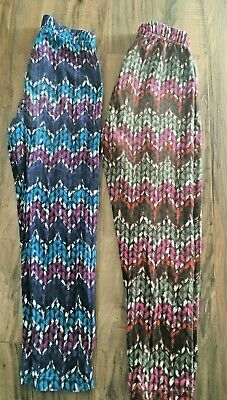 Girls Hanna Andersson Leggings Lot Bottoms Striped Blue Pink Sz 110 5 6