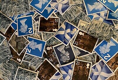 100 x UNFRANKED 2nd CLASS STAMPS VARIOUS NO GUM - OFF PAPER FACE VALUE £61
