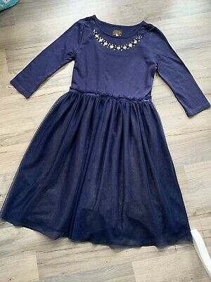 Joules Girls Navy And Gold Netted Skirt Dress Age 9-10