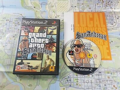 GTA Grand Theft Auto San Andreas Playstation PS2 Video Game Manual Map PAL
