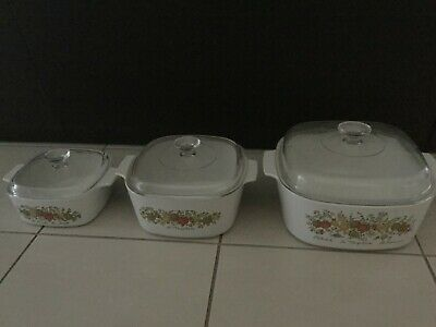 Corning Ware Casserole Dishes Spice of Life Set of 3 with Lids
