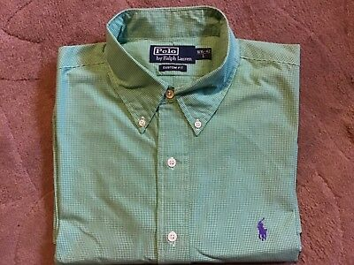 Polo By Ralph Lauren..mens Green & White Checked Custom Fit Oxford Shirt..size L