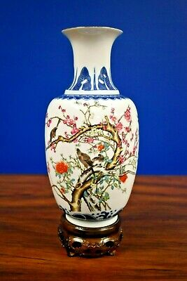 """11"""" Chinese Porcelain Vase Blue/White Magpies In A Plum Tree- Asian Oriental"""