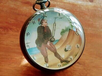 Vintage ERA Swiss GOLFER Golf Ball Clock Atomaton Moving Action Swiss 15 Jewel