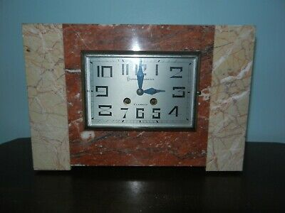 Duprat Dornier French Art Deco Onyx & Marble Mantle Shelf Clock