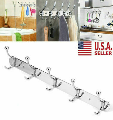 Stainless Steel Coat Hat Clothes Robe Wall Mount Hanger Towel Rack 5 Hooks US