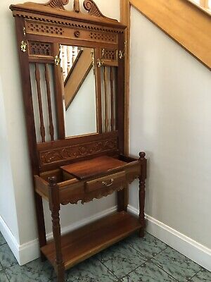 Antique Solid Wood hallstand with mirror, umbrella stand, draw, coat rack hooks.