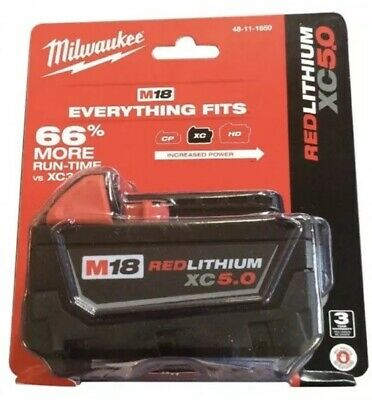 New GENUINE 18 Volt Milwaukee 48-11-1850 5.0 AH Battery M18 XC 5.0 Red