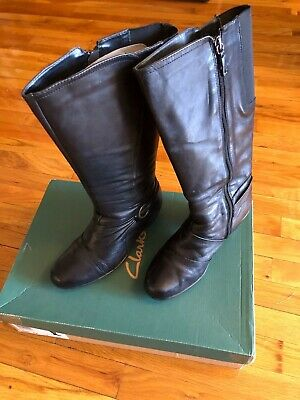 CLARKS Black Leather Knee High Boots Buckle & Gore Stretch Panel Details Size 8