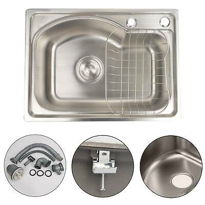 Modern Square Stainless Steel Kitchen Sink Single Bowl Laundry Catering.Topmount