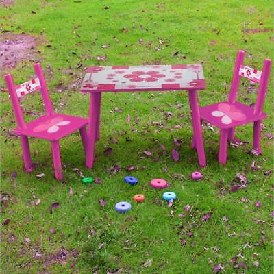 2 Chairs Pink Flowers Childrens Kids Wooden Garden or Inside Table Set